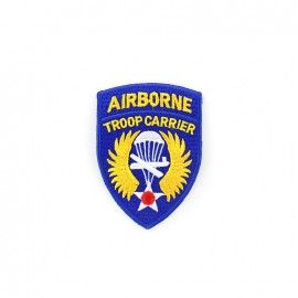 Troop Carrier Airborne badge iron-on applique - blue/yellow