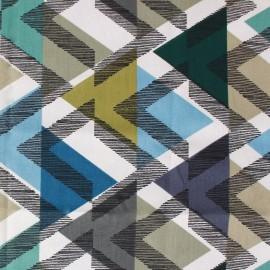 Tissu coton enduit Scandinave bleu x 10cm