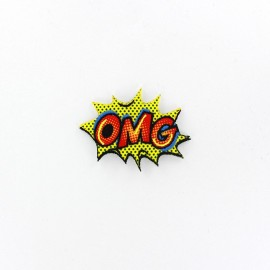 Pop art explosion OMG iron patch - red