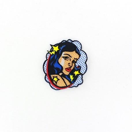 Pop art portrait iron-on patch - blue