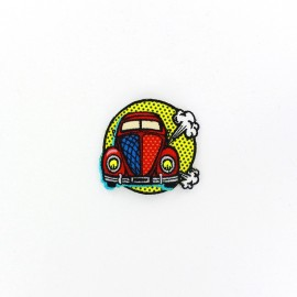 Pop art car iron-on applique - red