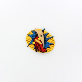 Pop art STOP iron patch - red