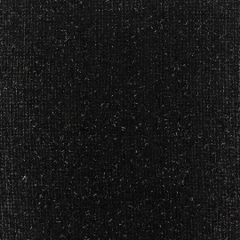 Light wool fabric Pansy glitter - black x 10cm