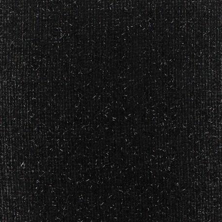 Light wool fabric Pansy glitter - black x 10cm