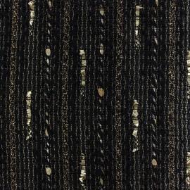♥ Coupon 120 cm X 140 cm ♥ Lurex light wool fabric Tia golden - black