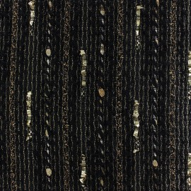 Lurex light wool fabric Tia golden - black x 10cm