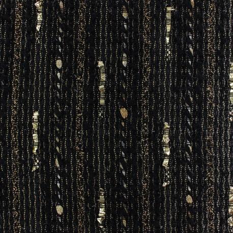 Lurex light wool fabric Tia golden - black x 10cm