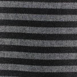 Tissu lainage léger Pansy glitter rayures noir x 10cm