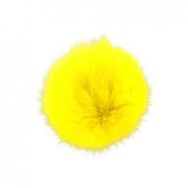 Pompon rond fausse fourrure jaune