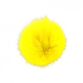 Round-shaped faux fur pompom - yellow
