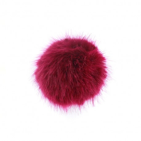 Round-shaped faux fur pompom - berry-colored