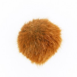 Round-shaped faux fur pompom - saffron yellow