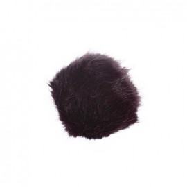 Round-shaped faux fur pompom - plum