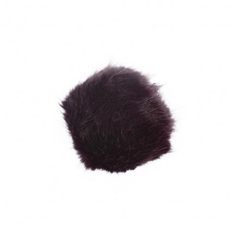 Round-shaped faux fur pompom - plum