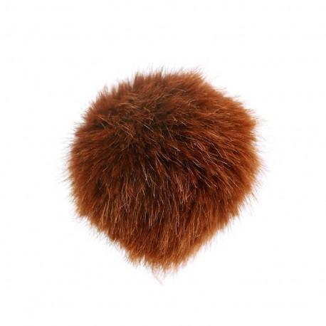 Round-shaped faux fur pompom - fawn