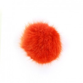 Pompon rond fausse fourrure orange