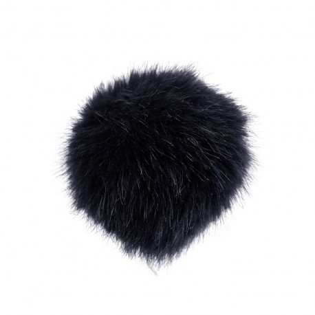 Round-shaped faux fur pompom - midnight blue