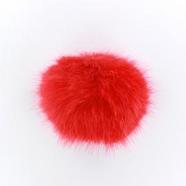 Pompon rond fausse fourrure rouge
