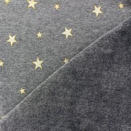 Sweat reversible minkee fabric Glittery Stars - grey / golden x 10cm