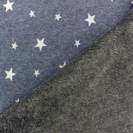 Sweat reversible minkee fabric Glittery Stars - blue / silver x 10cm