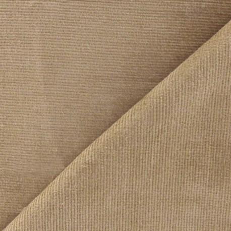 Tissu velours milleraies élasthanne gazelle x10cm