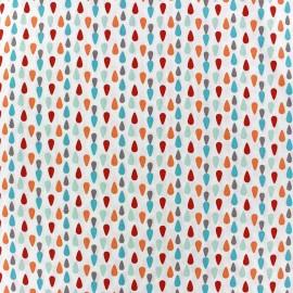 Tissu coton Plumi turquoise/rouge x 10cm