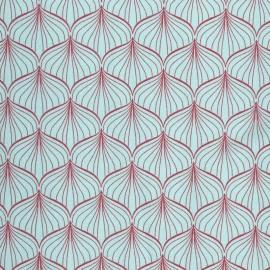 ♥ Coupon tissu 25 cm X 140 cm ♥ Alli coated cotton fabric - aqua sky/scarlet red