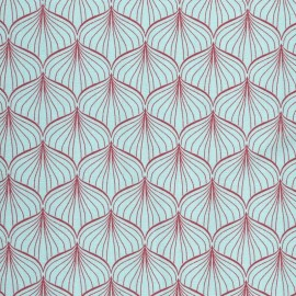 Tissu enduit coton Alli aqua sky/scarlet red x 10cm