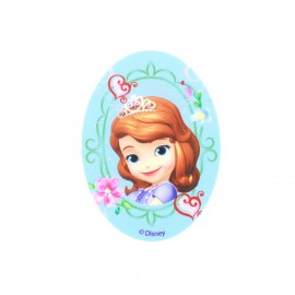 Sofia the First Flowers & hearts oval-shaped canvas Iron-on patch  - blue