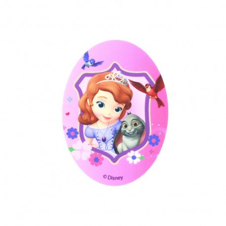 Sofia the First and her friends oval-shaped canvas Iron-on patch  - pink