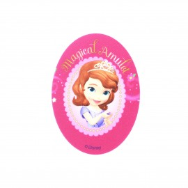 Sofia the First Magical Amulet oval-shaped canvas Iron-on patch  - pink