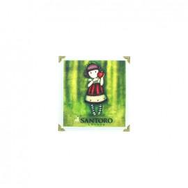Gorjuss Dear Apple canvas Iron-on patch - light green