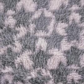 Tissu Doudou à poils longs Stars gris/rose x 10cm