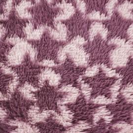 Tissu Doudou à poils longs Stars violine/rose x 10cm