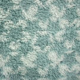 Tissu Doudou à poils longs Stars vert d'eau/opaline x 10cm