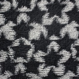 Long haired Baby's Security Blanket fabric Stars - black/grey x 10cm