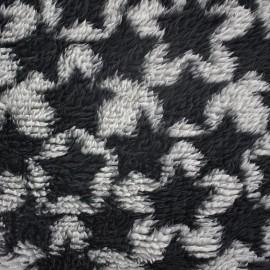 Tissu Doudou à poils longs Stars noir/gris x 10cm