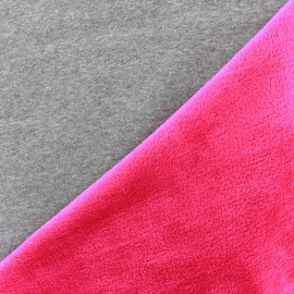 Tissu sweat envers minkee bicolore gris/fuchsia x 10cm