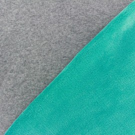 Tissu sweat envers minkee bicolore gris/turquoise x 10cm