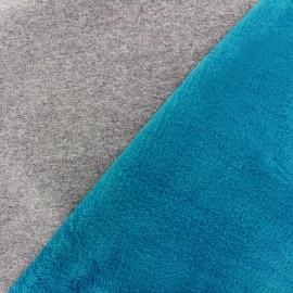 Tissu sweat envers minkee bicolore gris/bleu céleste x 10cm