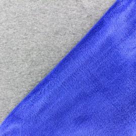 Tissu sweat envers minkee bicolore gris/bleu roy x 10cm
