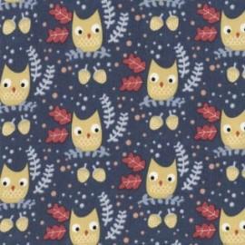 """Tissu Dear Stella """"Wee gallery"""" - Owls bleu x 10cm"""