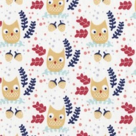 "Tissu Dear Stella ""Wee gallery"" - Owls white x 10cm"