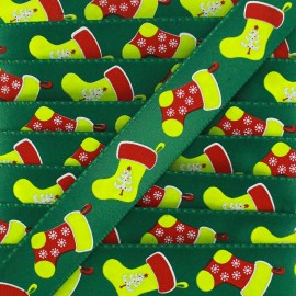 Satin ribbon, Christmas stockings - green