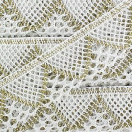 Lace ribbon Soraya - white/gold