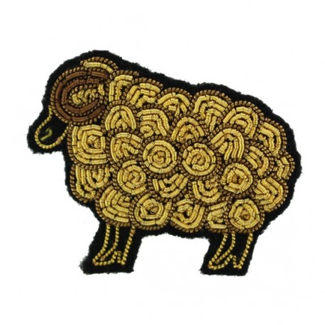 """Macon & Lesquoy Hand Embroidered brooch """"sheep"""" - golden"""