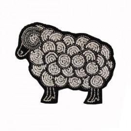 """Broche brodée """"mouton"""" argenté - Macon & Lesquoy"""