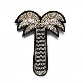 "Macon & Lesquoy Hand Embroidered brooch ""palm tree"" - silver"