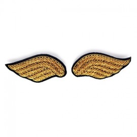 "Macon & Lesquoy Hand Embroidered brooch ""a pair of wings"" - golden"