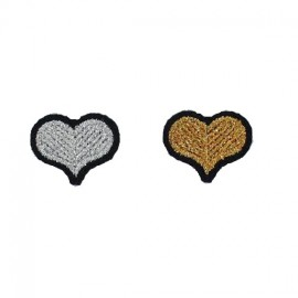 """Thermocollant """"couple rustines coeurs"""" argent et or - Macon & Lesquoy"""